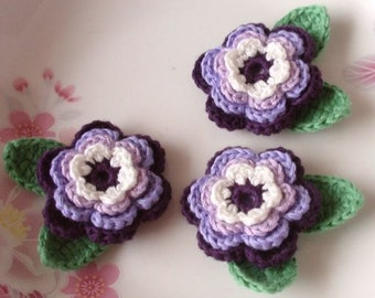 3 Crochet  Flowers With Leaves YH - 074-05