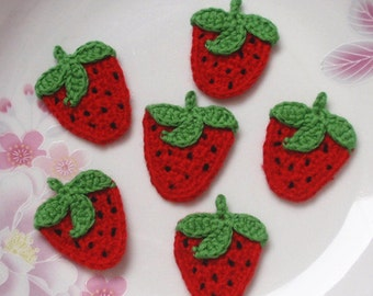 6 Crochet  Strawberries In Red, Green, Black YH - 084