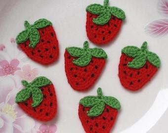 6 Crochet  Strawberries In Red, Green, Black YH - 084