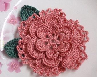 Crochet Flower With Leaves In 3 inches in Dusty Rose YH-099-24