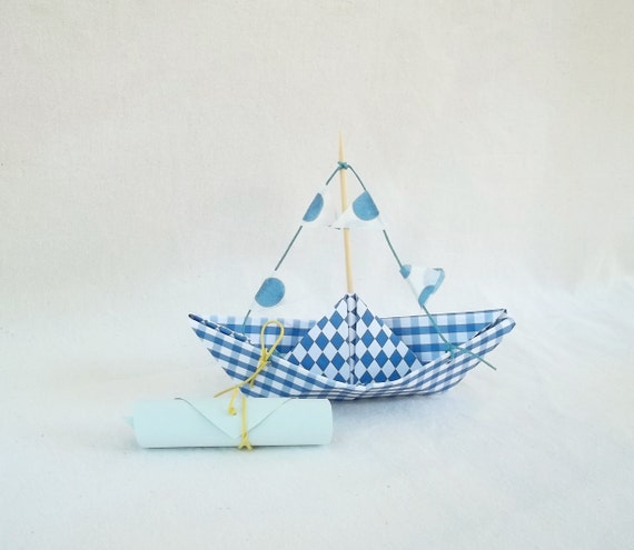 Baby boy shower Invitation- Paper Boat invitations for Baptism-Party-Baby Shower - nautical theme invites