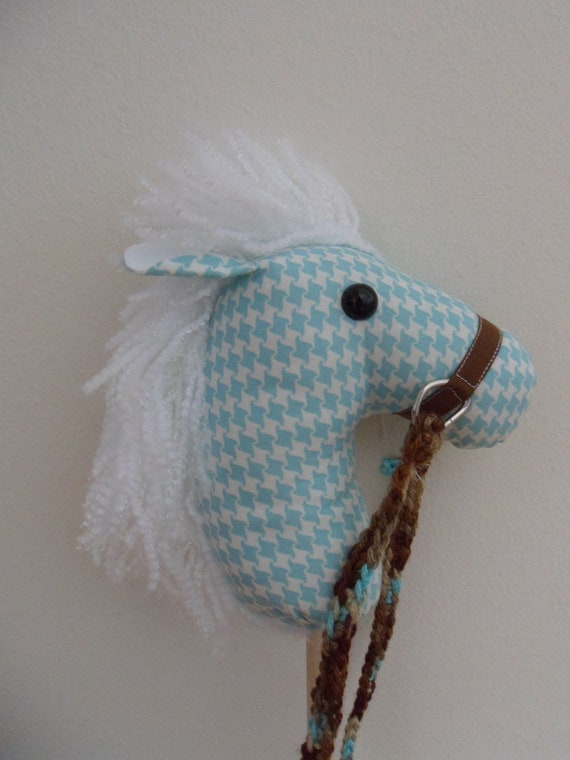 Aqua Houndstooth Print Mini Horse Puppet, Doll Horse or Toddler Horse Fat Quarter Horse