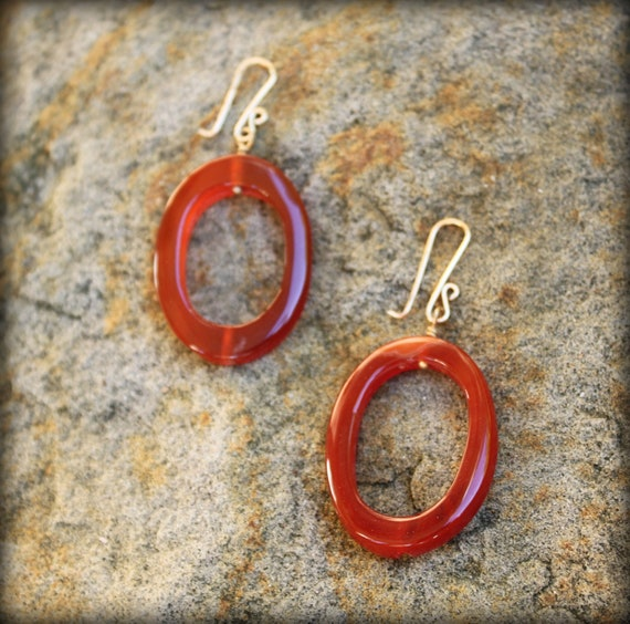 Carnelian Oval Cut Out and Gold Earrings, Stocking Stuffer, Hostess Gift, Boss's Gift AD1355X