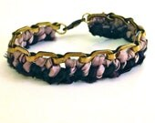 Black and taupe/nude bracelet: gold-tone chain link brass and woven/braided silk