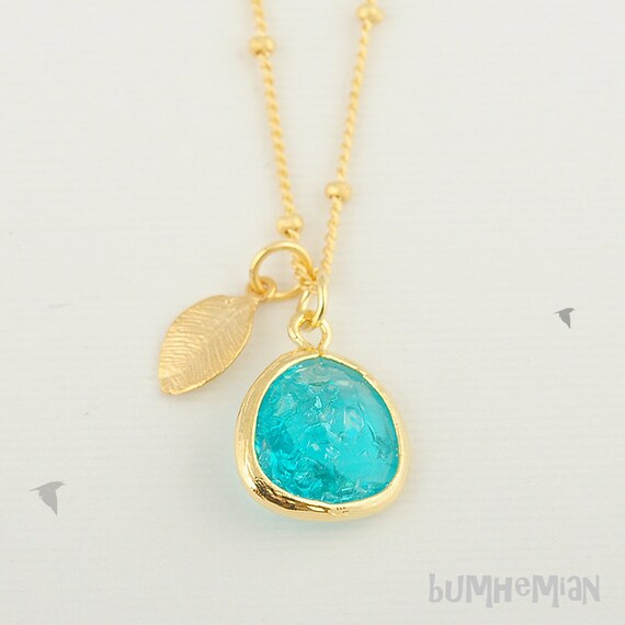 "LAST ONE// Bright Aqua Crushed CZ with Mini Leaf on Ball Chain, Length: 16.5"", Necklace"