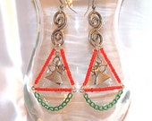 Christmas Chandelier Earrings with Angel Charm/ Angel Earrings/ Christmas Earrings/ Womens Earrings/ Red and Green Earrings/ Holiday Earring