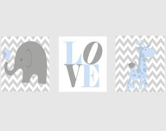 Nursery Art Elephant Giraffe Chevron Baby Boy Nursery Prints, Gray Light Blue Wall Art  Love - Modern  Nursery Decor