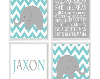 Baby Boy Nursery Prints Nursery Art Elephant Chevron  Gray Aqua Wall Art Name -  Nursery Decor Playroom Rules Quote -