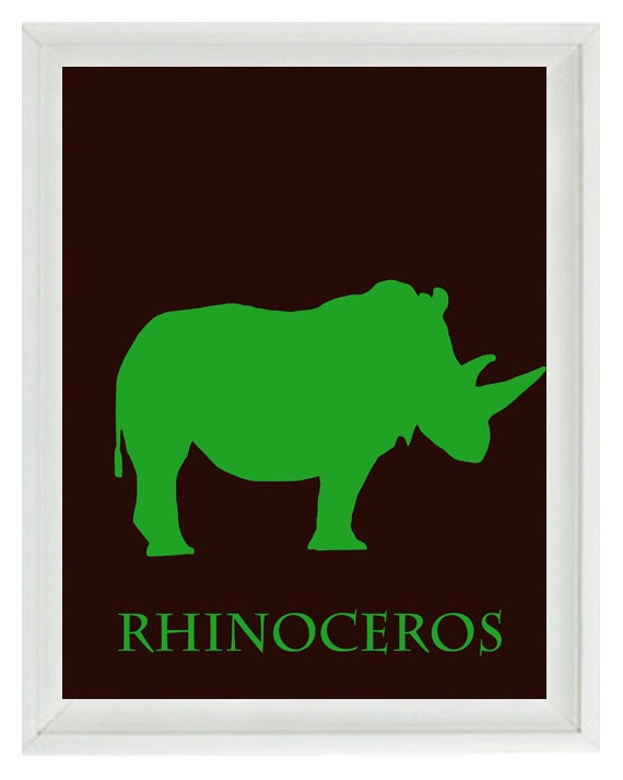 Safari Nursery Rhino Wall Art Print - African Animals Rhinoceros Chocolate Brown Green - Children Room Home Decor   Print