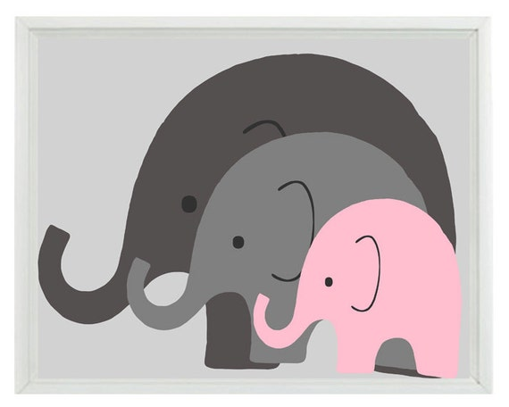 Elephant Nursery Wall Art Print - Mom Baby Dad Family Pink Gray Decor - Children Kid Baby Room - Wall Art Home Decor  Print
