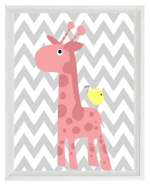 Giraffe Bird Chevron Nursery Wall Art Print Pink Yellow Gray