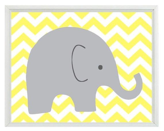 Elephant Chevron Nursery Wall Art Print Yellow Gray Decor
