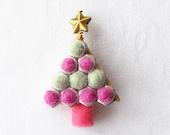 Christmas Tree Brooch Mint Raspberry, Needle Felted, Metal Nuts