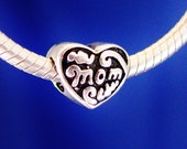 Mom Heart European Charm Bead Silver Plated designed to fit your Bracelet