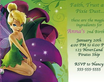 Tinkerbell Invitation--Disney--Birthday Party--Customize---DIGITAL OR PRINT
