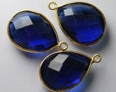 925 Sterling Vermeil Silver,Kyanite Quartz Faceted Pear Shape 24K Gold Plated,Pendant,2 Piece of 21mm approx