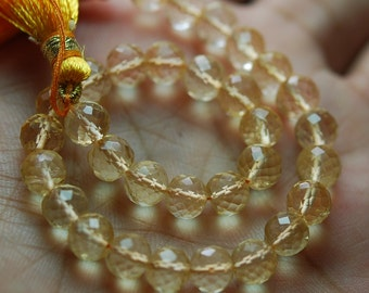 4 Inch,CITRINE, Full Strand Micro Faceted Round BALLS Beads, 9mm Size,Super Quality Citrine Balls Beads