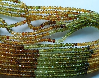 14 Inch-Super-FINEST- Petro Multi  Tourmaline faceted rondelles 2.5mm full 14 inch strand,Super Finest Quality