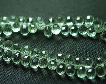 7 Inch Strand, AAA Quality Green Amethyst  Step Cut Faceted Drops Shape Briolettes, 8-9mm Long,Great Quality