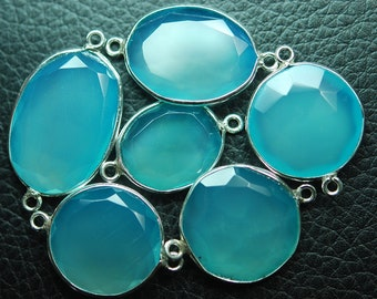 925 Sterling Silver Aqua Chalcedony Faceted Slice Shape Connector Pendant,2 Piece of 21-25mm
