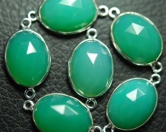 925 Sterling Silver Chrysoprase Chalcedony Faceted Oval Shape Connector Pendant,1 Piece of 21mm
