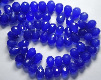 7 Inch Strand, Full Strand,Cobalt Blue Chalcedony Micro Faceted Tear Drops Shape Briolettes 11-10mm