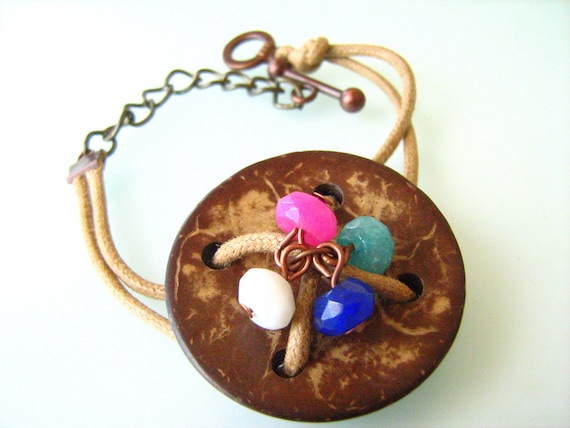 Light Brown cotton cord button bracelet