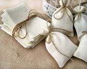 SET OF 300 Natural Rustic Linen Eco Wedding Favors Bag  with natural jute twine drawstring