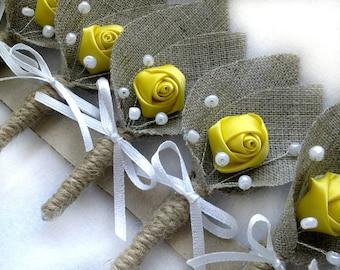 Set of 10- Yellow Flower burlap Boutonniere (buttonhole)