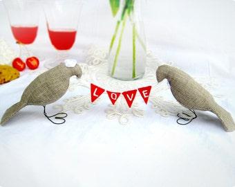 Burlap LOVE Birds Wedding Cake Toppers with mini felt banner, Love Fabric Banner,Burlap Birds Cake toppers
