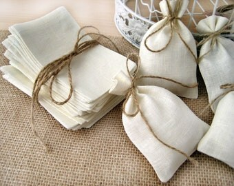 SET OF 85 Natural Rustic Linen Eco Wedding Favors Bag  with natural jute twine drawstring