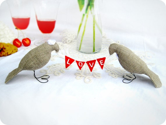 Burlap LOVE Birds Wedding Cake Toppers with mini felt banner, Love Fabric Banner,Burlap Birds Cake toppers