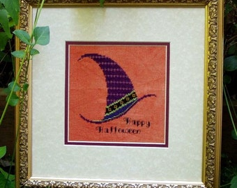 """SALE! Halloween Cross Stitch Instant Download PDF Pattern """"Witchy Hat"""" Counted Embroidery. Happy Halloween. X stitch. DIY Home Decor."""