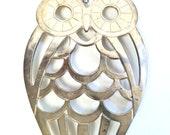 Owl Trivet / 1980s Decor / Mid Century Owl / Owl Wall Hanging / Leonard Silverplate / Owl Stencil