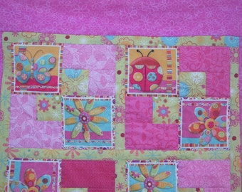 Magic Garden Quilt - Toddler, Baby, Girl Quilt with Lady Bugs, Butterflies and Flowers