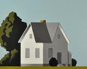 Modern Large Painting White Farmhouse on Canvas - Custom Made Farm - 48 x 48 Inches