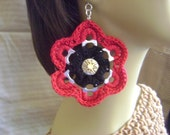 Crochet Pop Tab Flower Earrings & Button w/TITANIUM Hooks for SENSITIVE Ears Red/Black