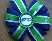 NFL Seattle Seahawks Pinwheel Style Hair Bow ((MORE TEAMS))