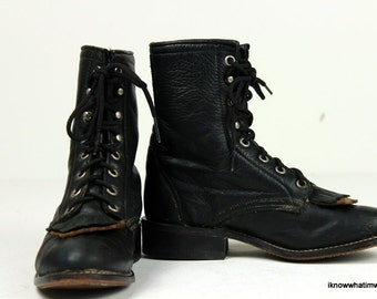 Viintage Laredo Riding Leather Lace Up Boots Woman's Size 5 1/2