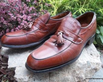 Vintage Hanover All Leather Tasseled Slip On Moc Loafer Mens Shoes Size 8 1/2