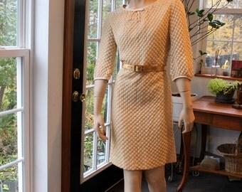 1960's Knit ButterCreme Secretary Wiggle Dress Vintage Harry S Epstein New York