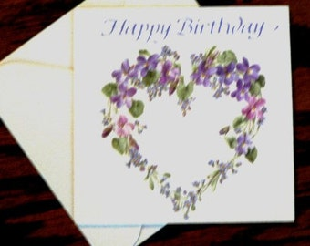 vintage cards ... HAPPY BIRTHDAY floral heart CARD with envelope ...