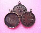 12pcs Antique Bronze Watch Blanks Bezel Setting  pendant charm, Pendant Trays (25mm,26.5mm)