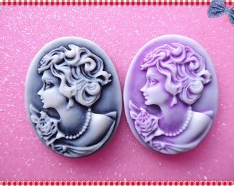 4pcs Maria cameo Purple &  Gray  flatback cabochon oval resin 28x35mm