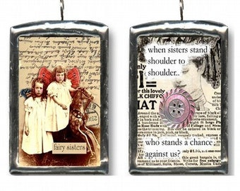 Strength Of Sisters. Altered art collage pendant, charm. Fairy art