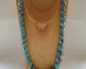 hand painted turquoise and gold marbleized wooden bead neclace
