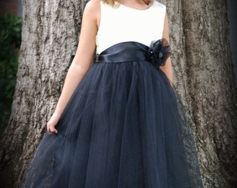 Gorgeous dress with Ivory brocade bodice and black tulle over satin skirt with lace trim on hem.