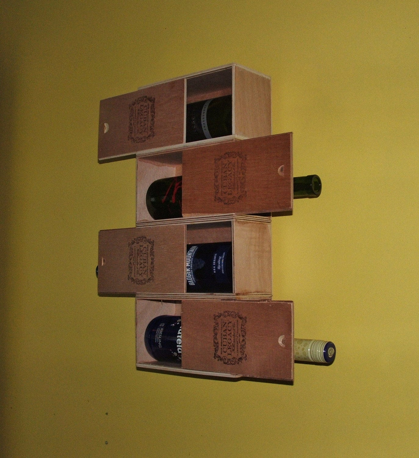 Cuban cigar box wine rack recycled and repurposed home d cor for Cigar boxes for crafts