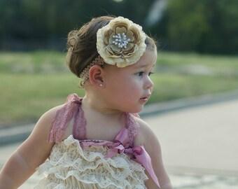 Baby Lace Headband.Infant Lace Headband.Newborn Lace Headband.Baby Girl Lace Headband.Flower Headband.Tan Headband.Beige Headband.Vintage