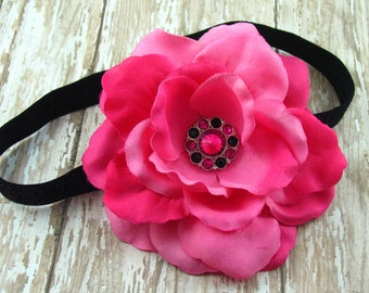 Hot Pink Rose Flower Bloom Black Glitter Elastic Headband with Black and Hot Pink Rhinestone Button Center